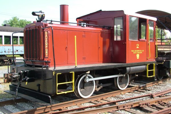 The 25-ton, side-rod, diesel/mechanical Davenport is our primary locomotive. Built in 1939, it was issued construction number 2291 dated February 1940. The original owner was the Port of Richmond, Richmond, VA. The loco was used in the rail yard at the port to manage cargo for oceangoing ships. After the operation was converted to trucks, WS acquired the loco in 1996. Originally, the prime mover was a Caterpillar D-17000, but we installed a Cat 3406 in the late 1990s after the crankshaft broke.